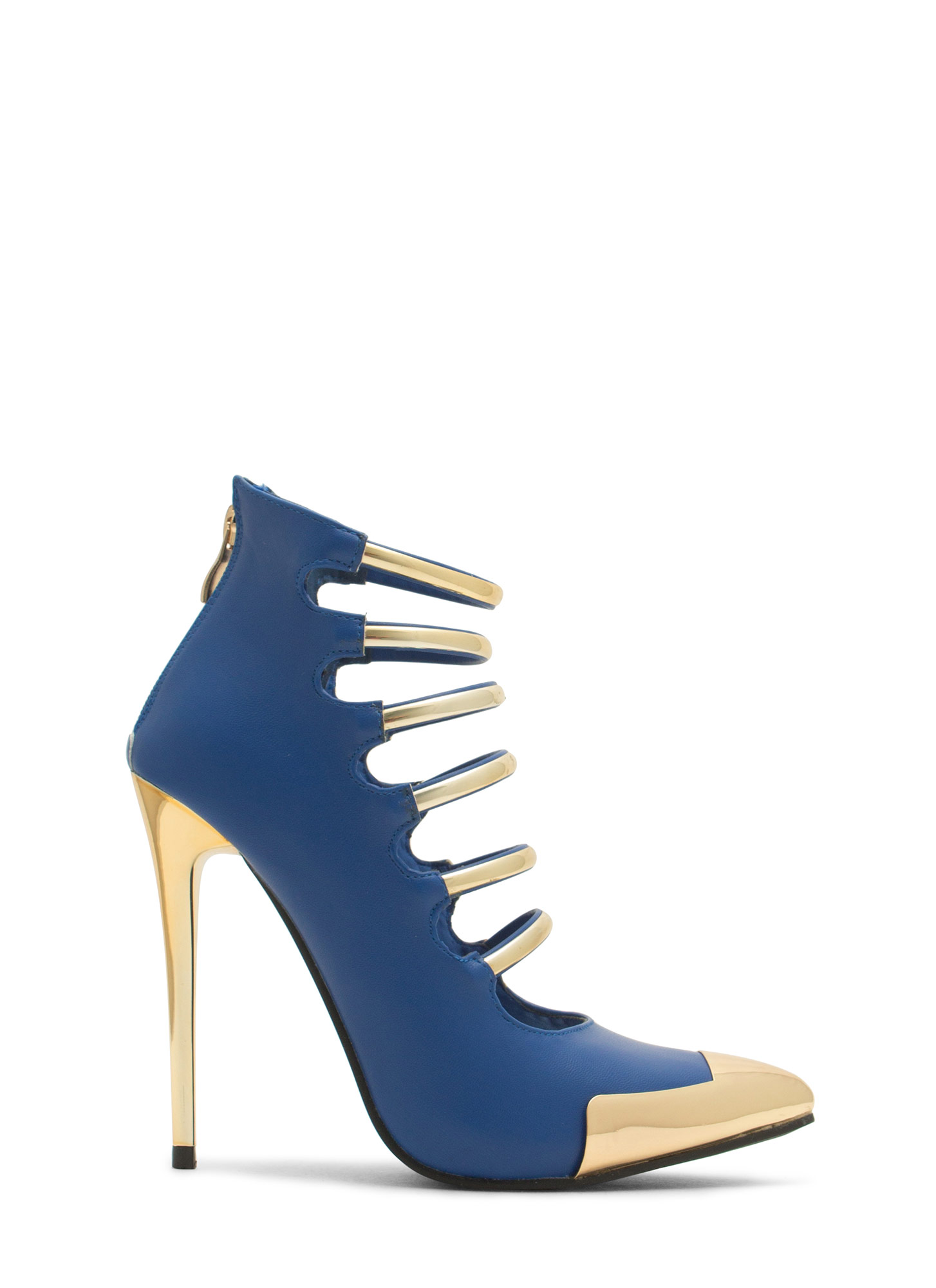 Laddered Gleam Capped Heels ROYAL (Final Sale)