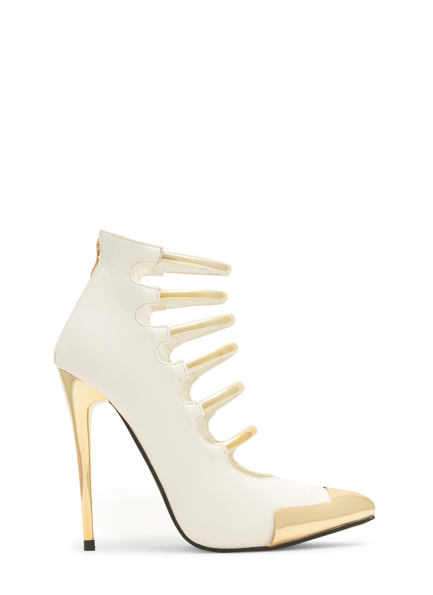Laddered Gleam Capped Heels WHITE
