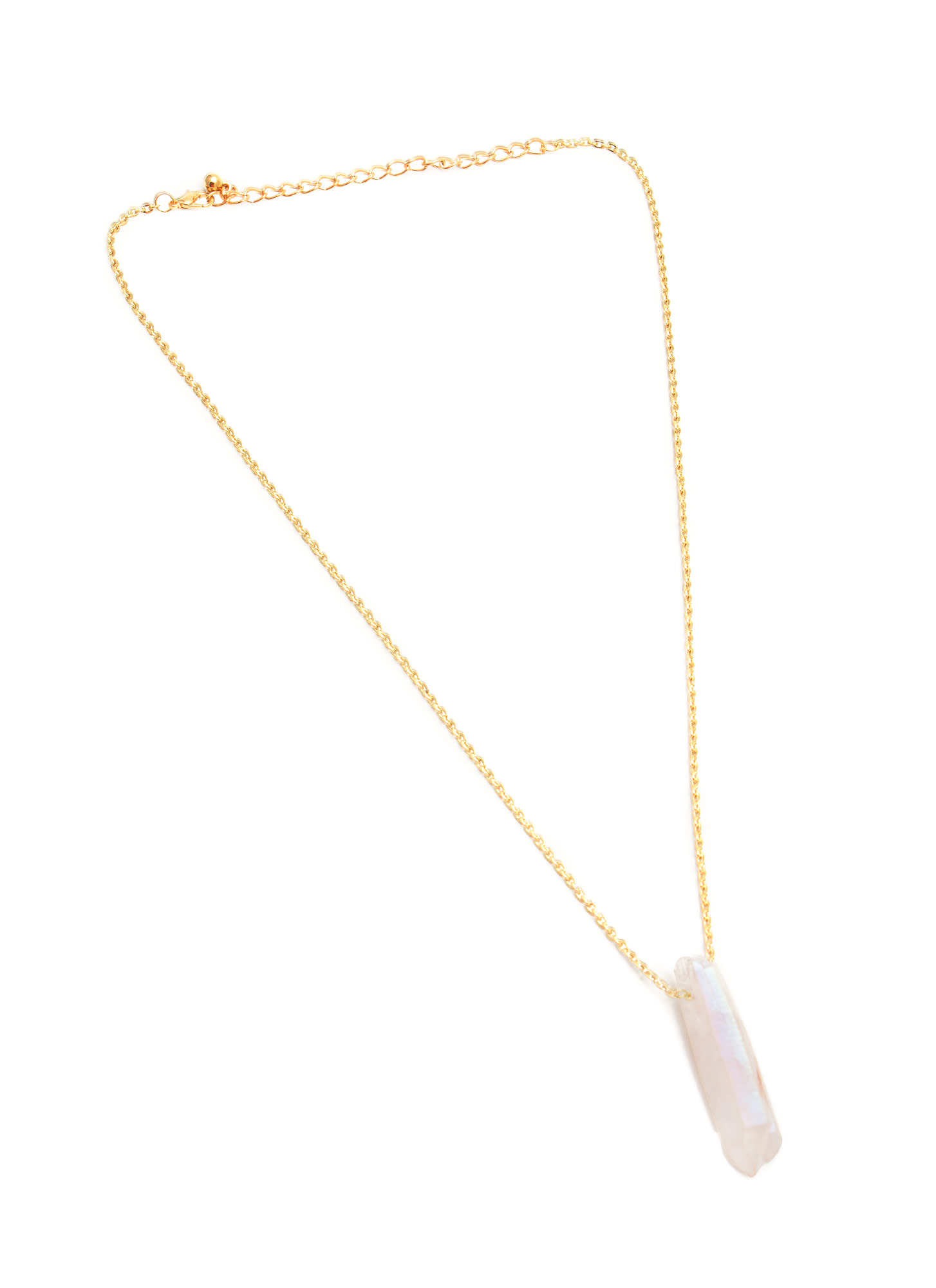 Iridescent Stone Pendant Necklace GOLDCLEAR