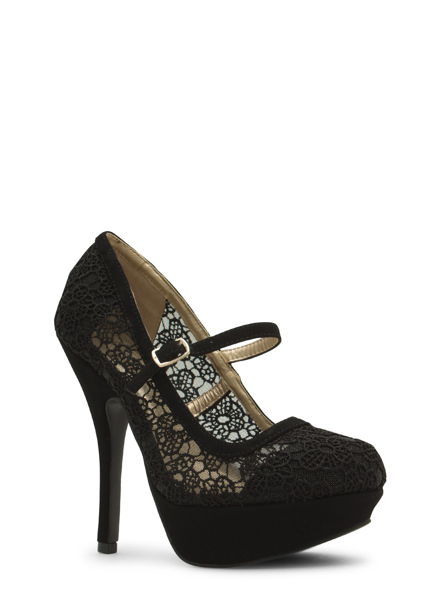 Daisy Crochet Mary Jane Heels BLACK