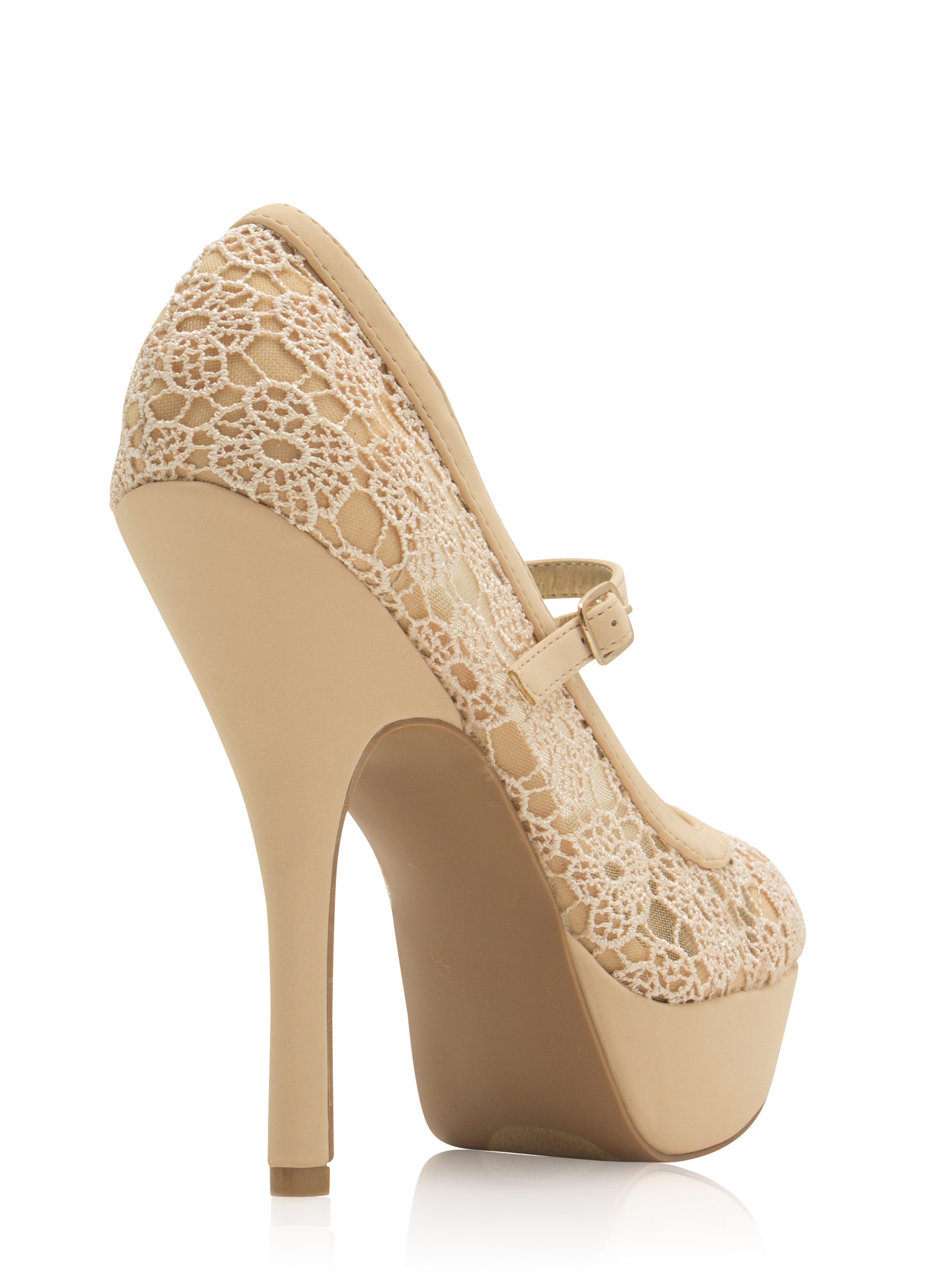 Daisy Crochet Mary Jane Heels NUDE