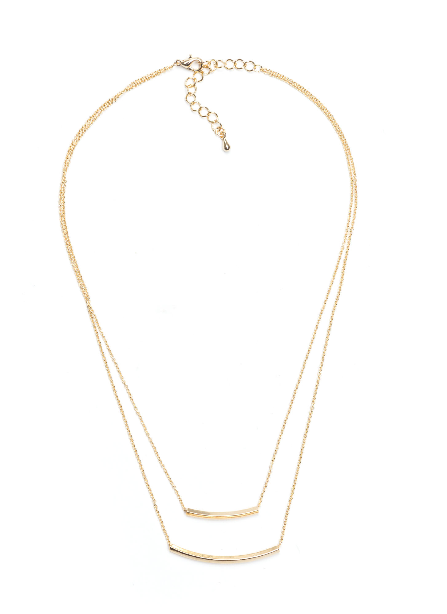 Metallic Double Bar Layered Necklace GOLD
