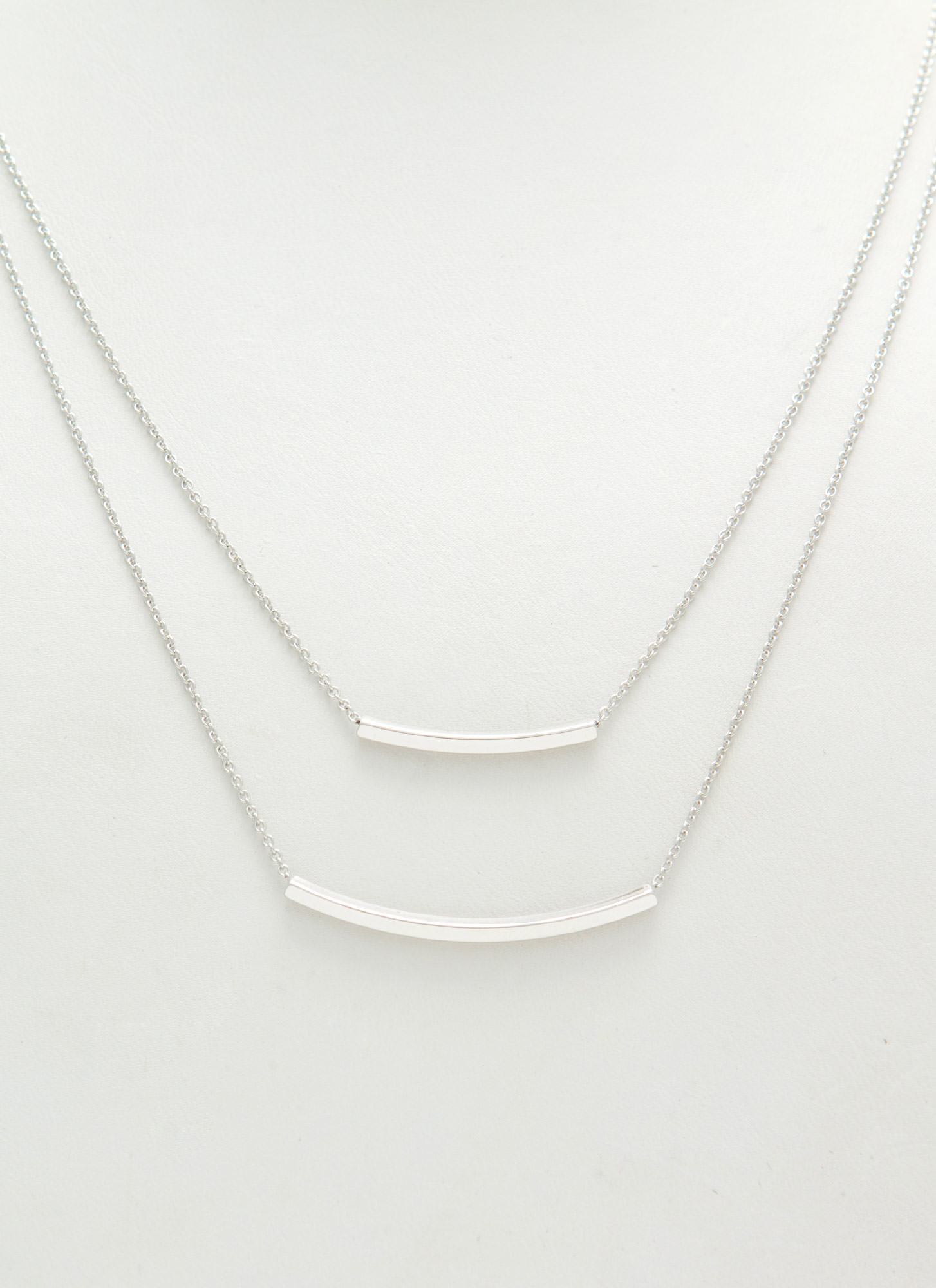 Metallic Double Bar Layered Necklace SILVER