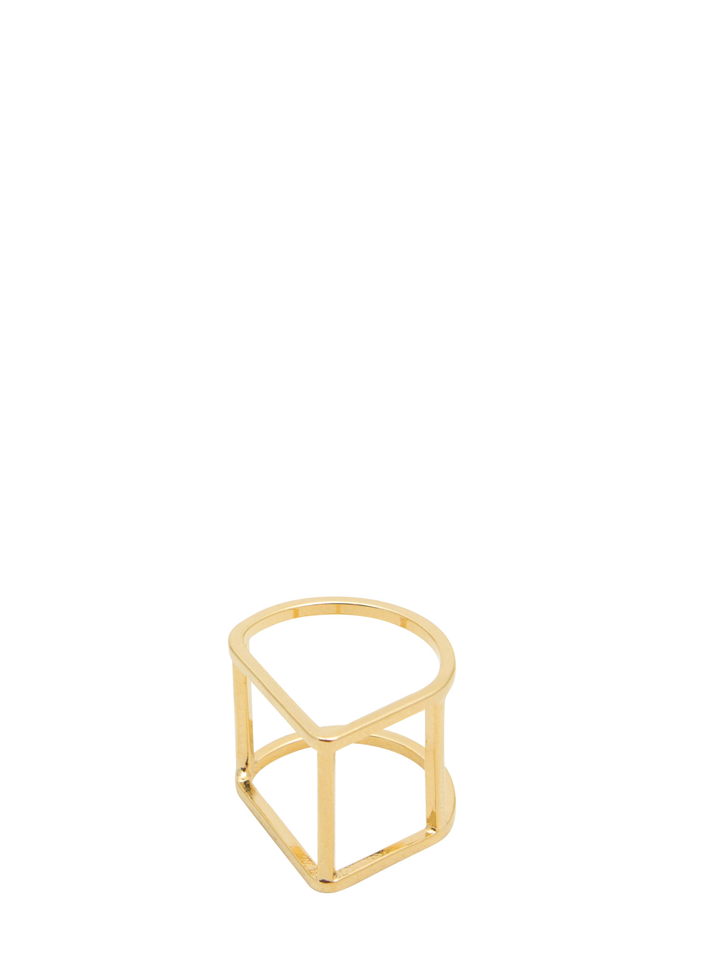 Metallic Curved Cube Ring GOLD