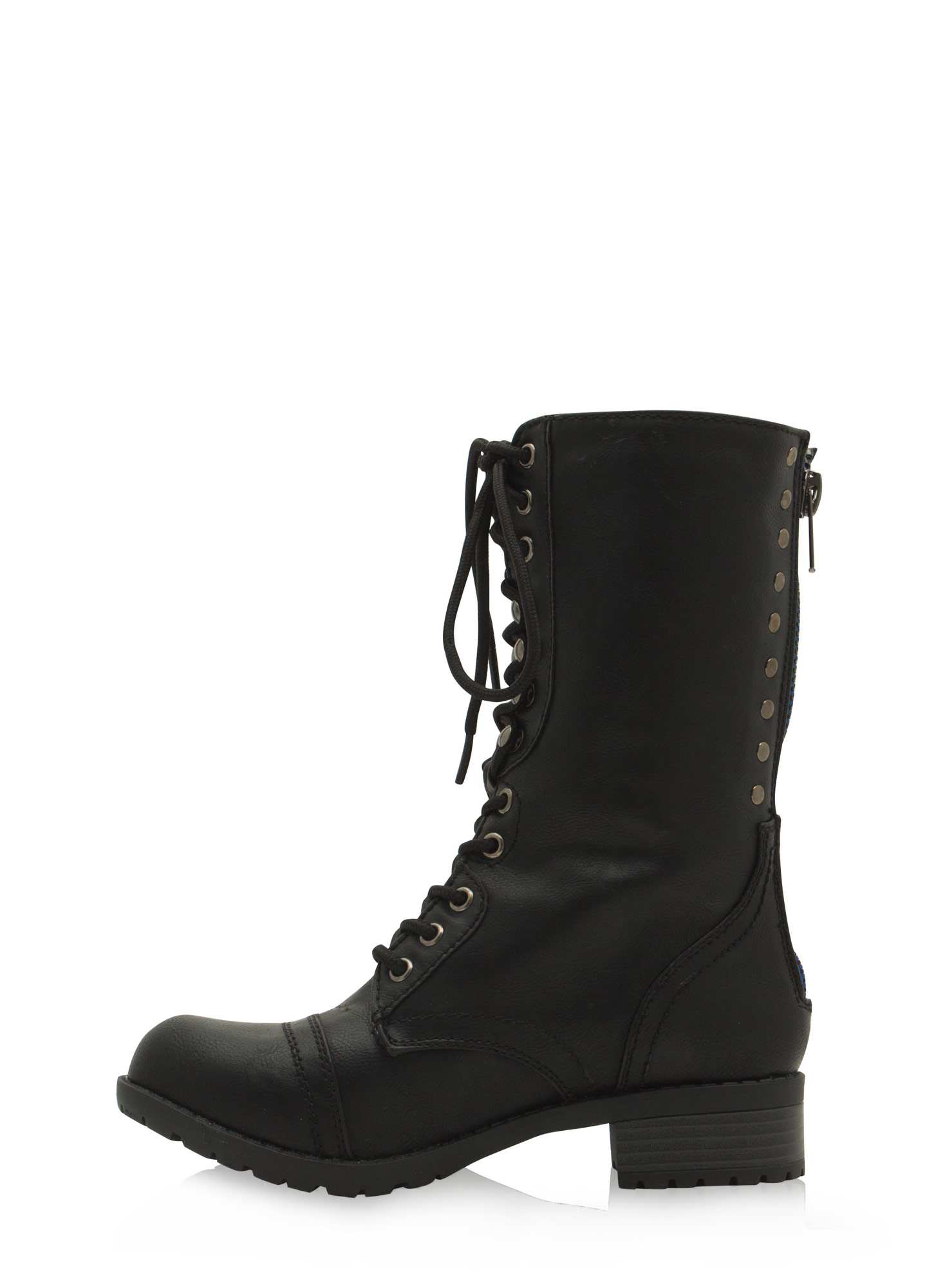 Studded Row Lace-Up Boots BLACK