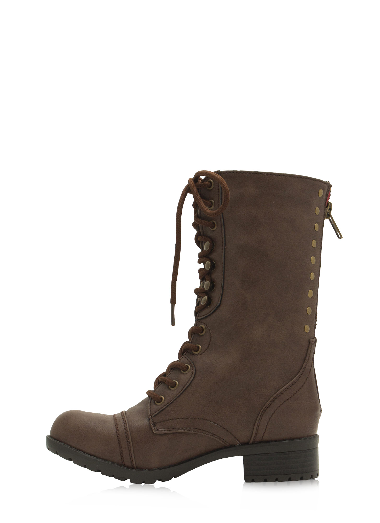 Studded Row Lace-Up Boots BROWN