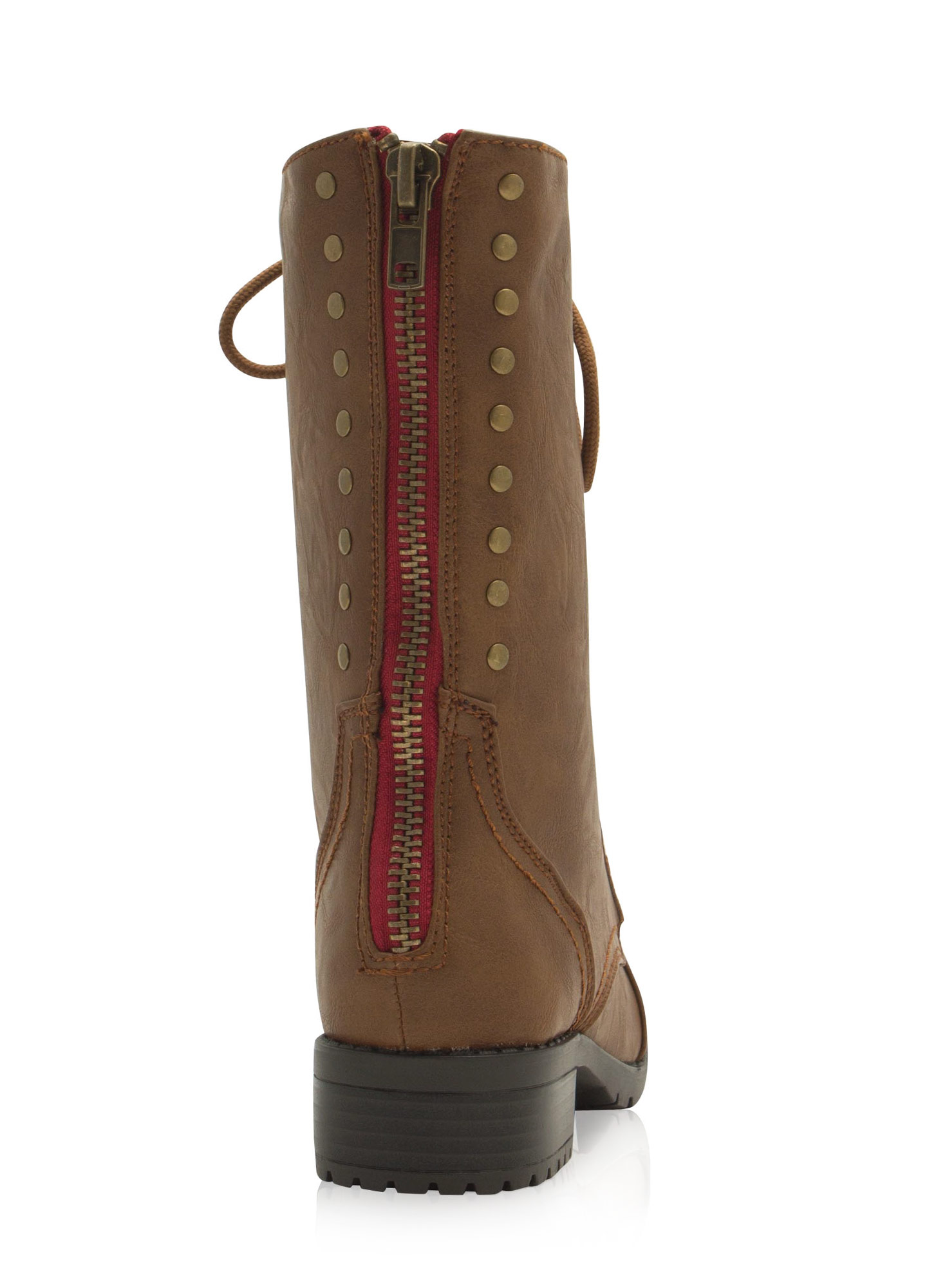 Studded Row Lace-Up Boots CAMEL