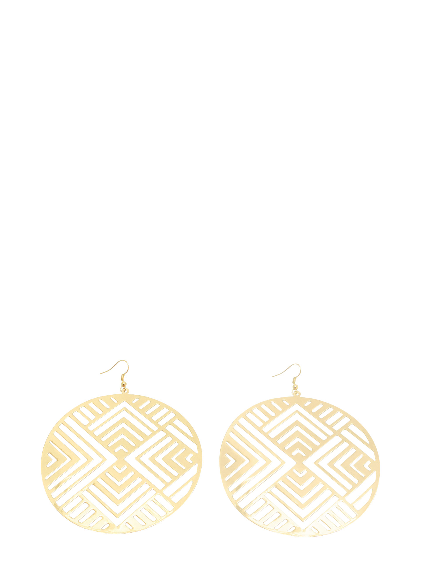Oversized Geo Circle Plate Earrings GOLD