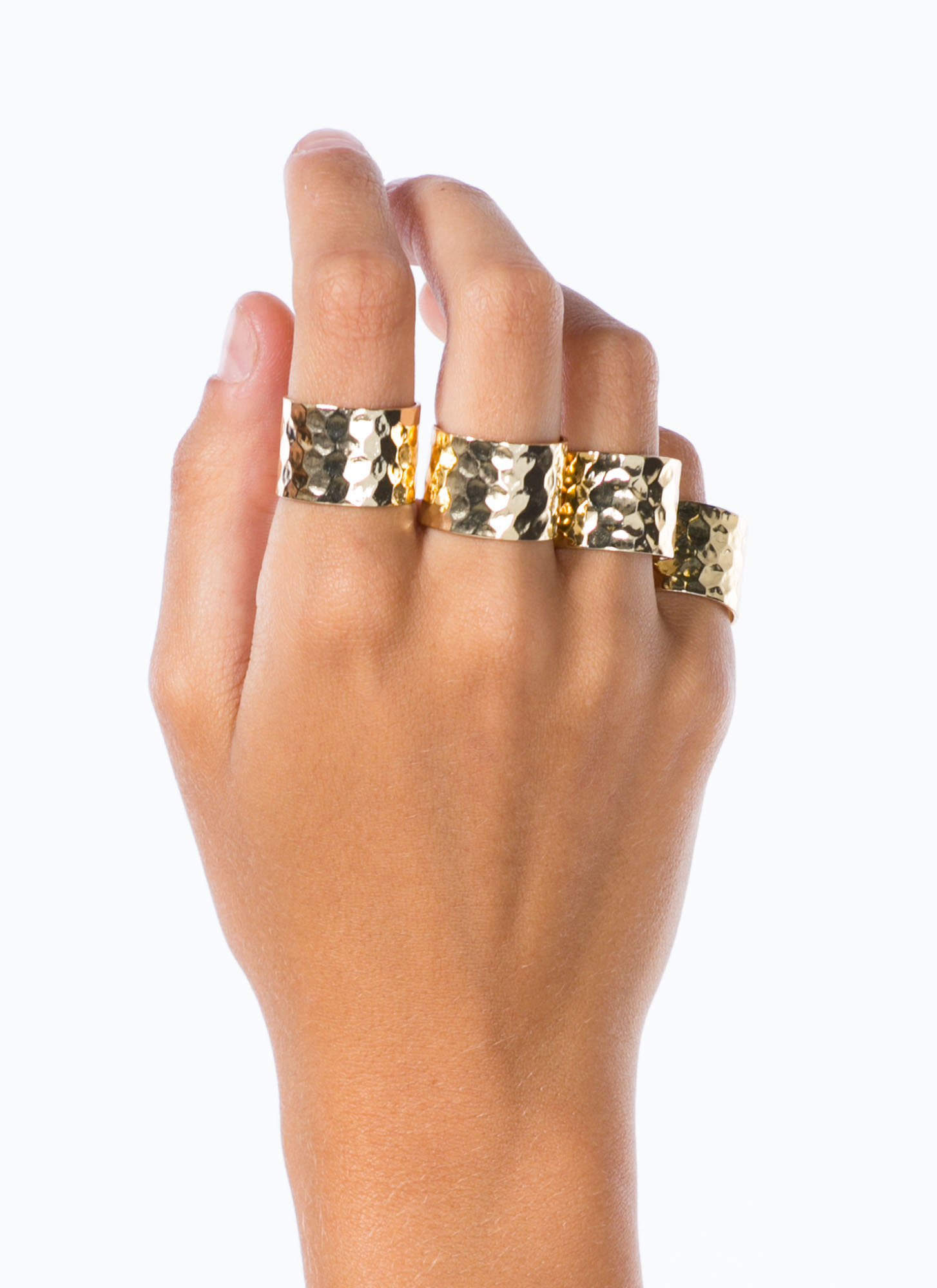 Metallic Hammered Ring Set GOLD