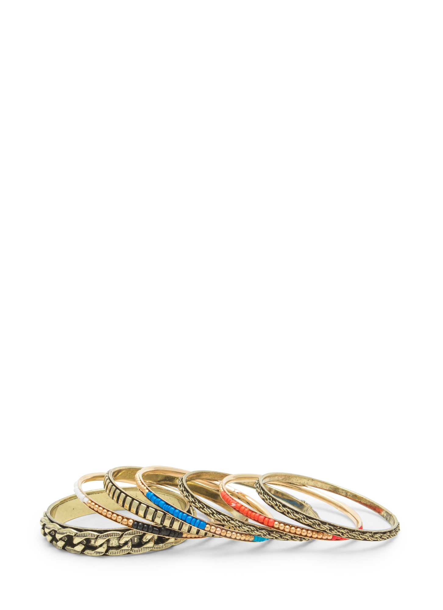 Metal Chained 'N Beaded Bangle Set MULTI