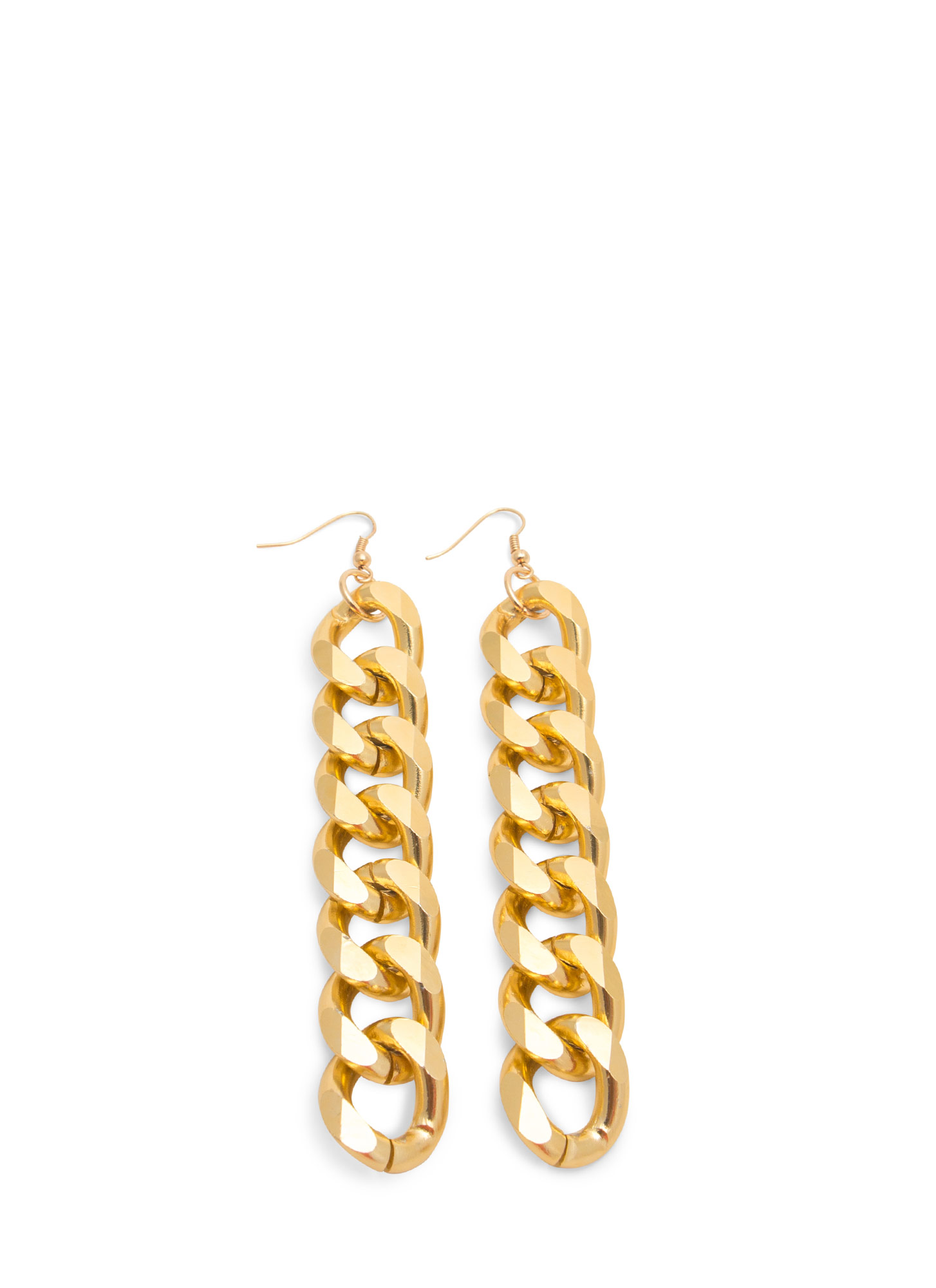 Chunky Curb Link Chain Earrings GOLD