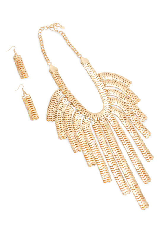 Snake Chain Fringe Necklace Set GOLD
