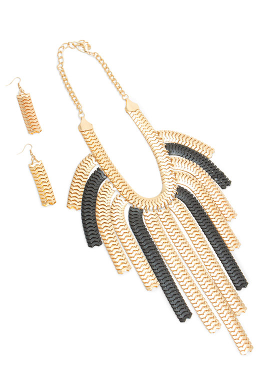 Snake Chain Fringe Necklace Set MULTI
