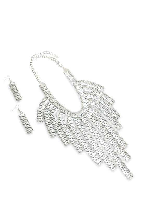 Snake Chain Fringe Necklace Set SILVER