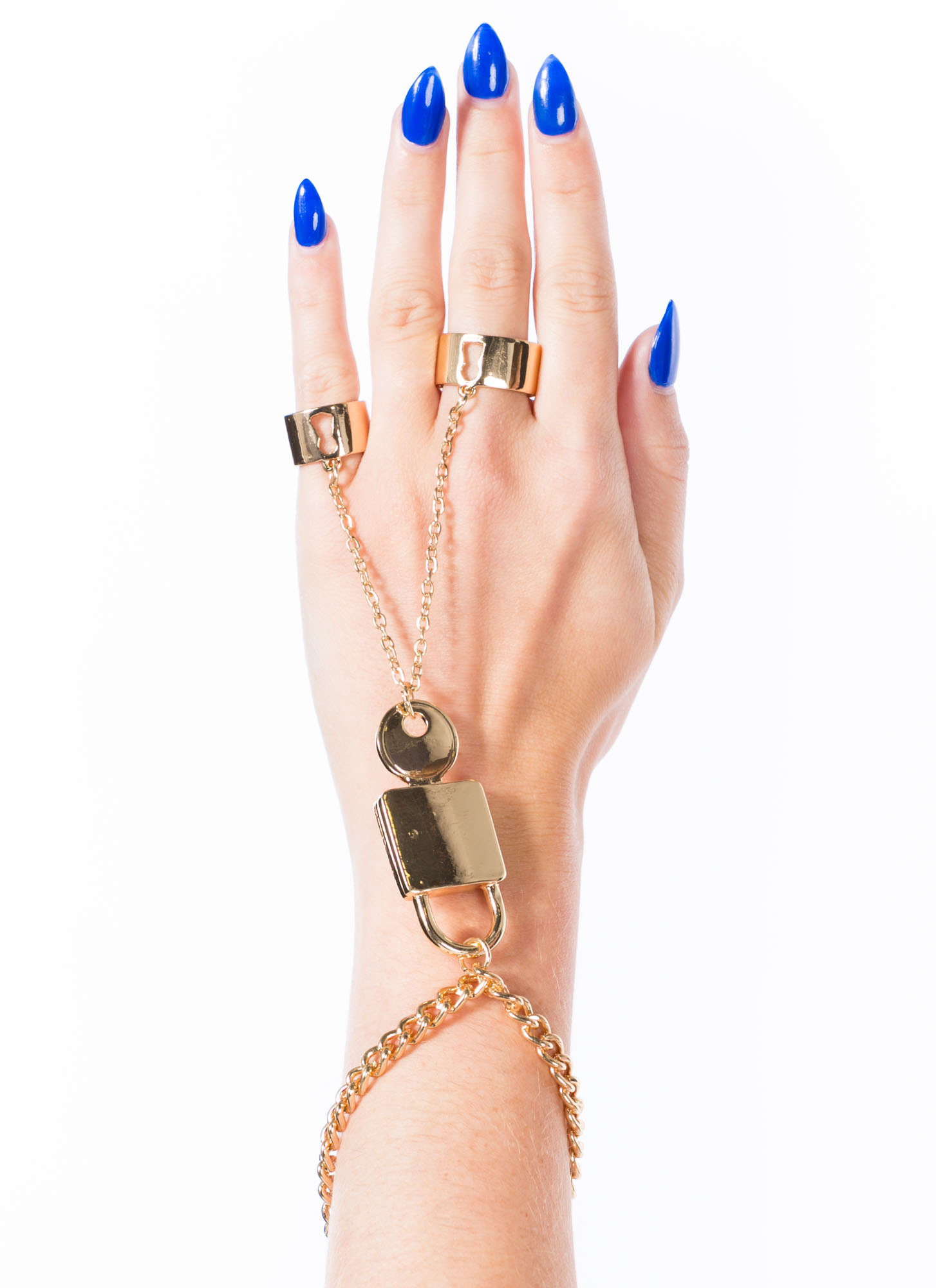 Lock And Key Two-Ring Hand Bracelet GOLD