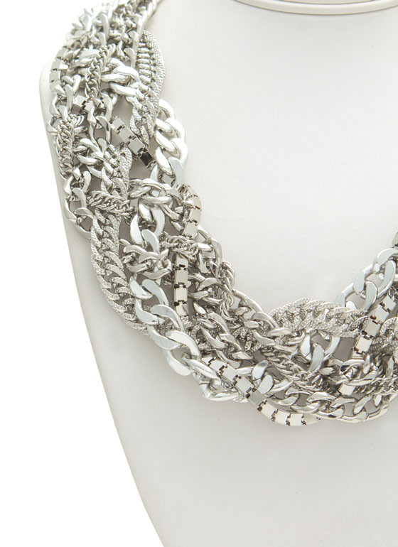 Metal Display Chain Necklace Set SILVER