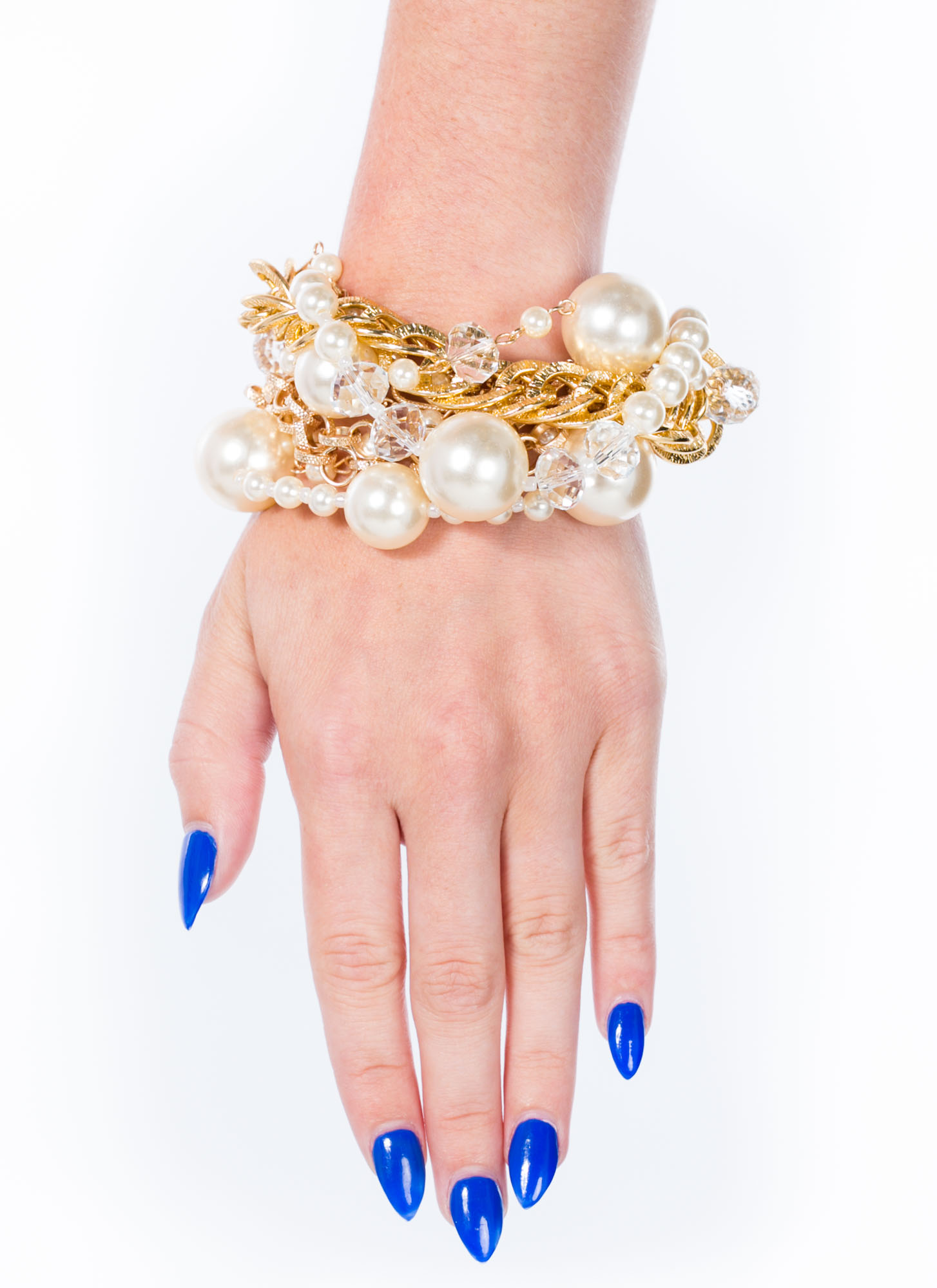 Faux Pearl Bauble Bracelet IVORYGOLD