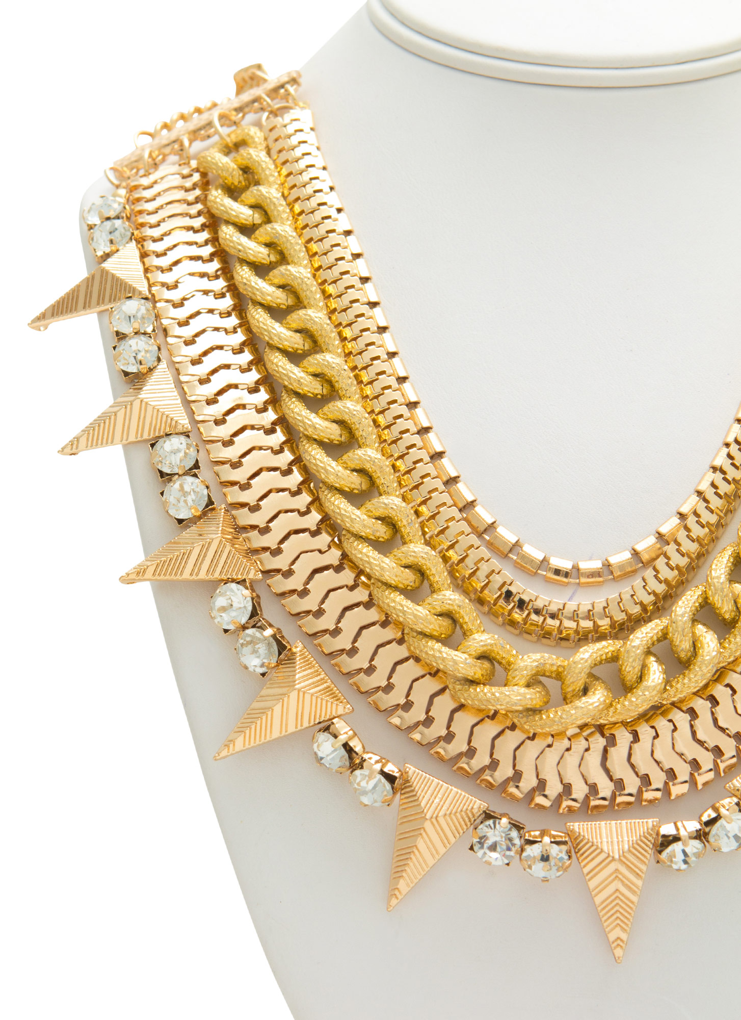 Chain Gang Mixed Necklace Set GOLD