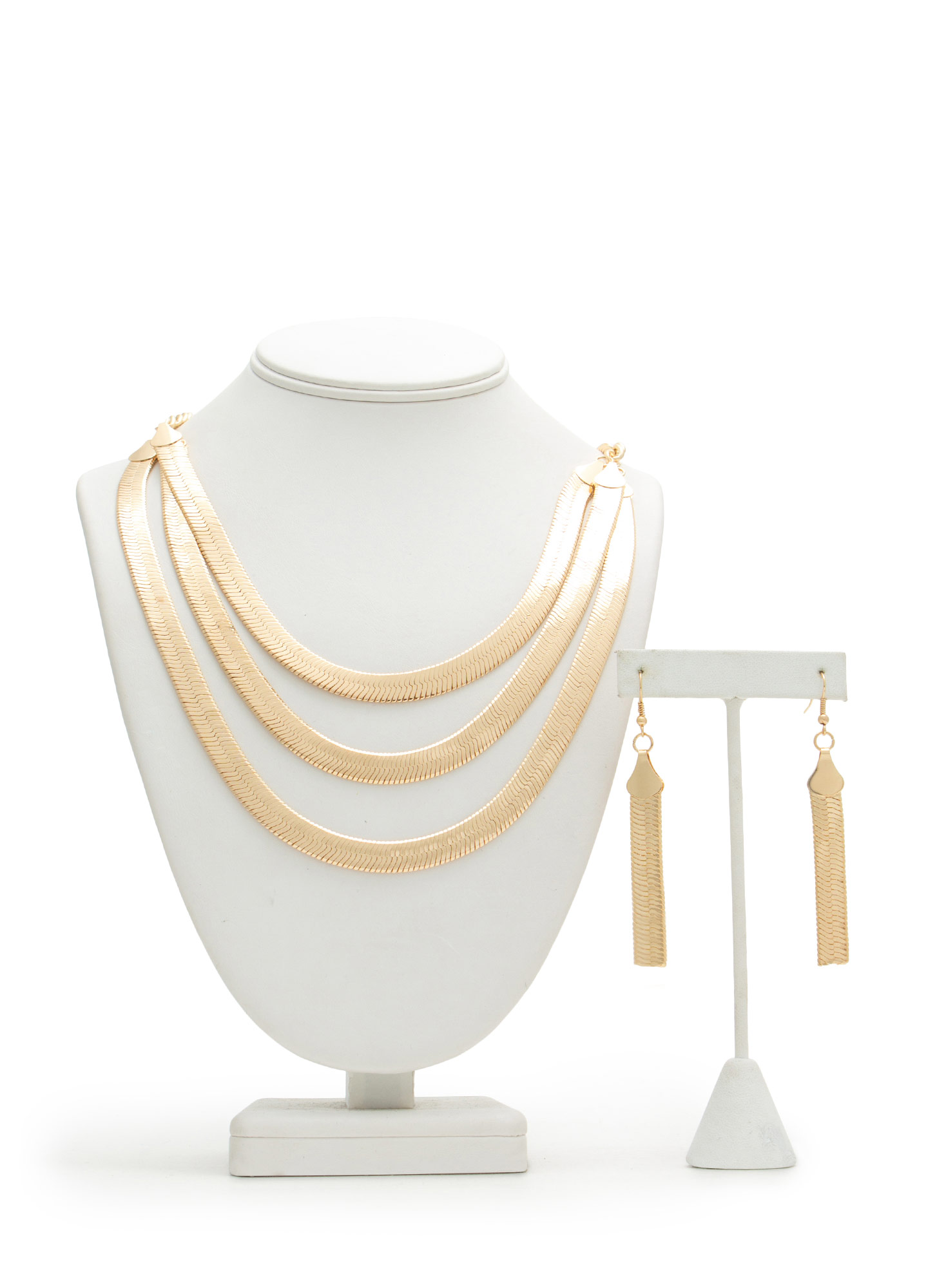 Triple Herringbone Strand Necklace Set GOLD