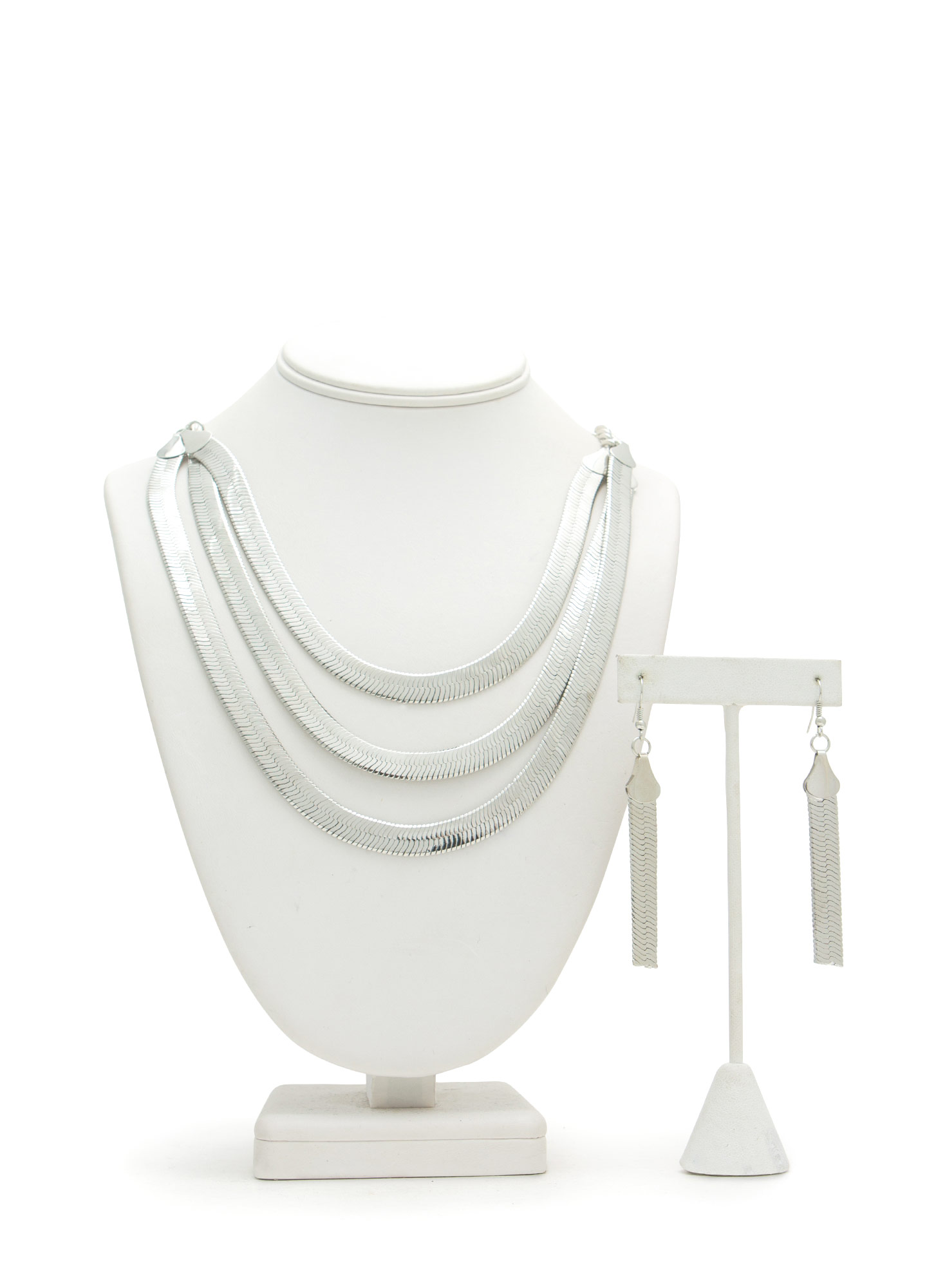 Triple Herringbone Strand Necklace Set SILVER