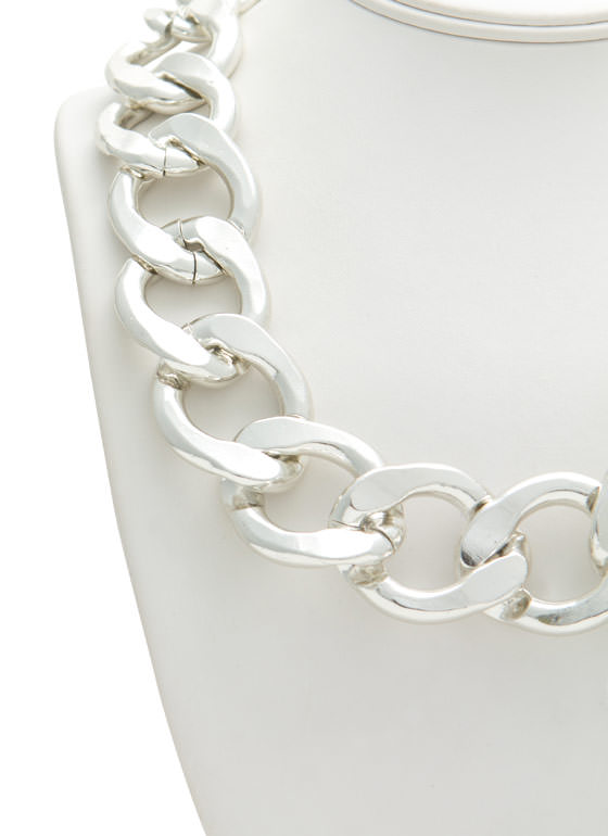 Chunky Chain Link Necklace Set SILVER