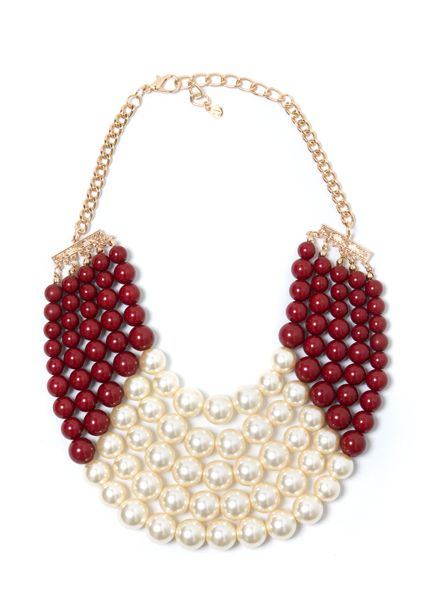 Colorblock Faux Pearl Necklace Set IVORYBURG