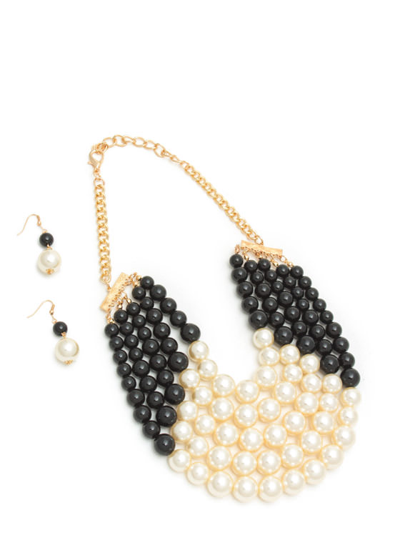 Colorblock Faux Pearl Necklace Set IVORYGOLD