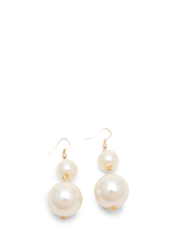 Oversized Faux Pearl Necklace Set IVORYGOLD