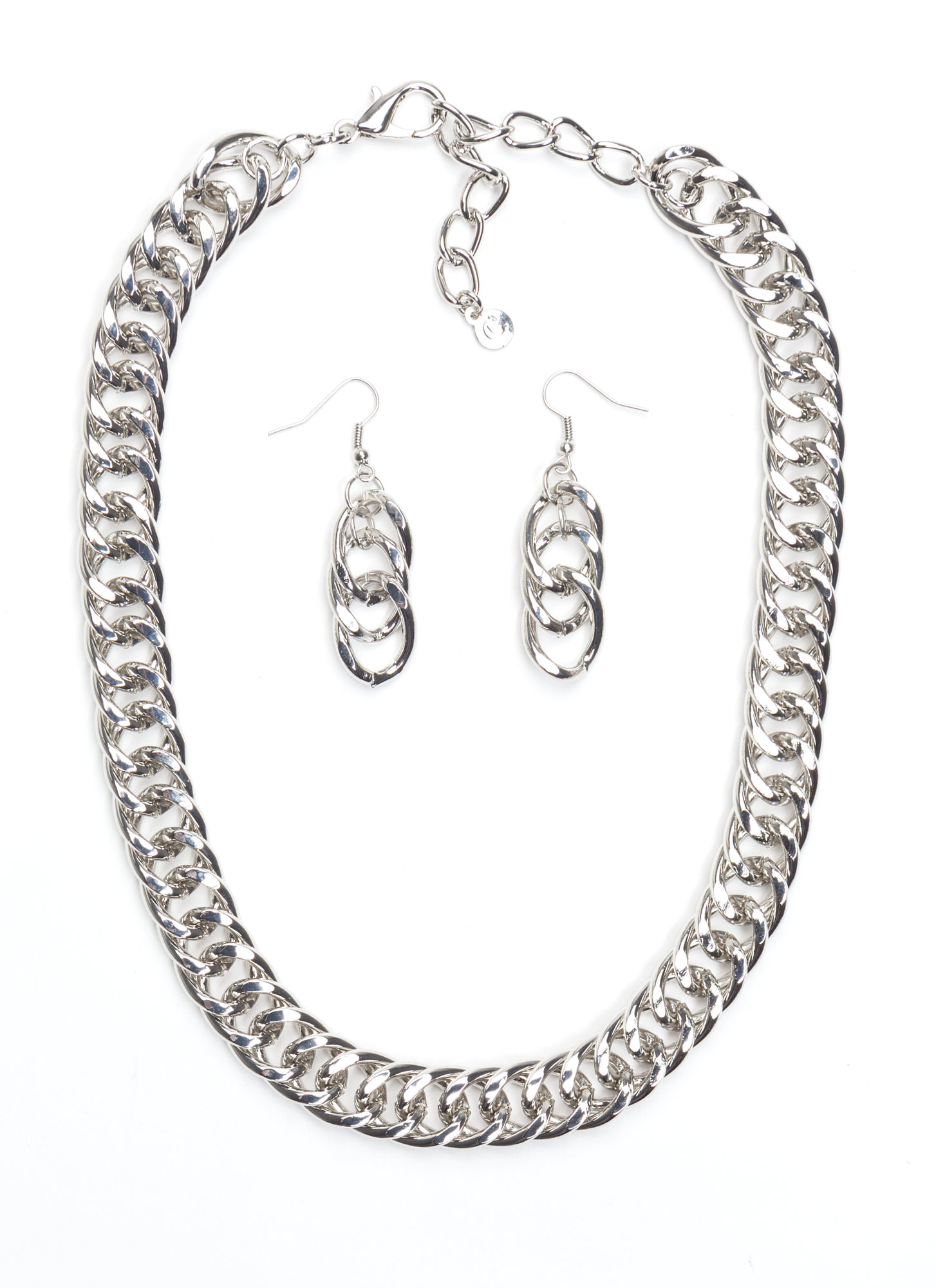 Shine On Curb Link Necklace Set SILVER