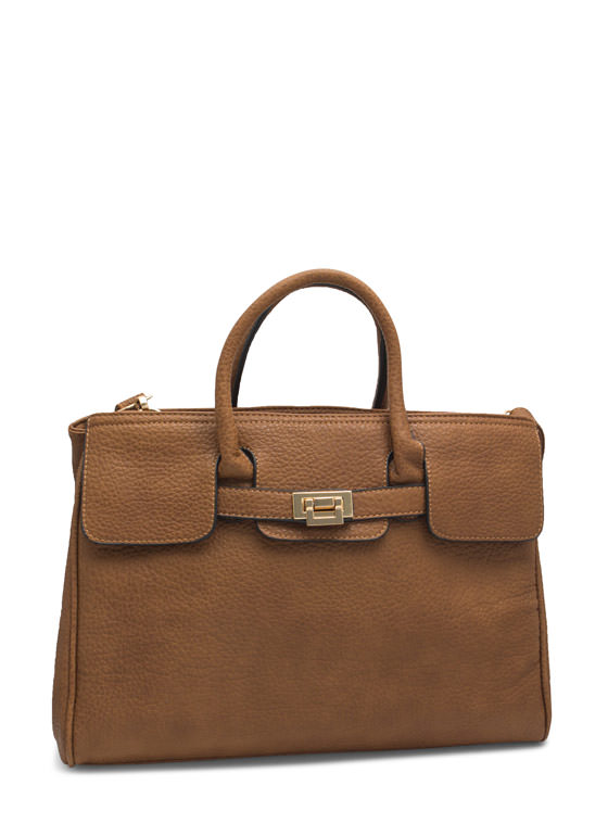 Pebbled Faux Leather Satchel BROWN