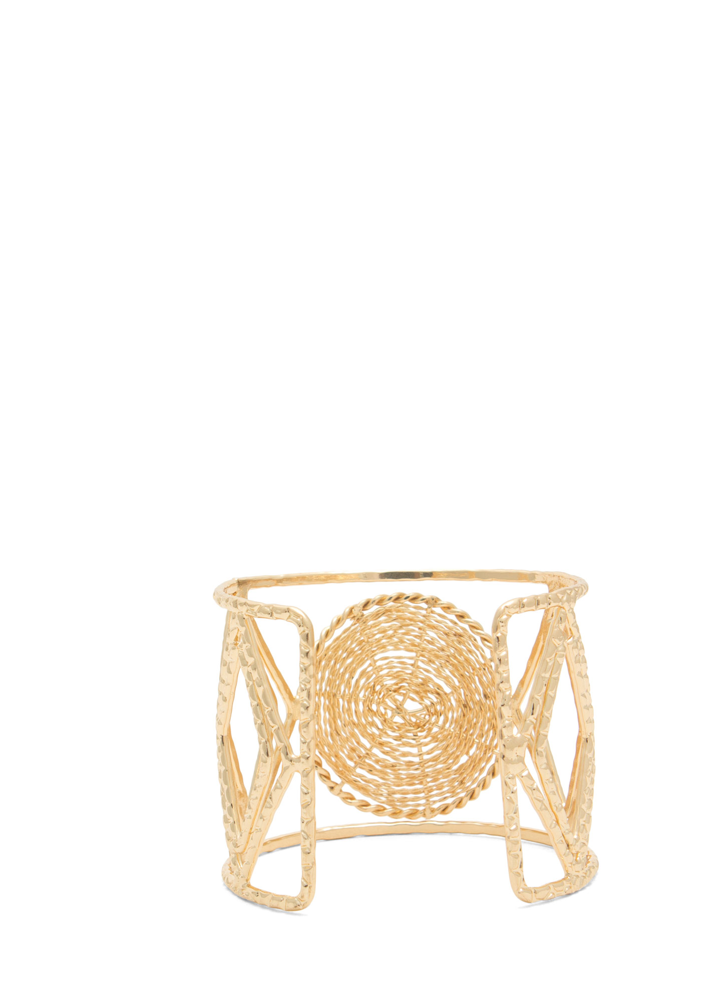 Cut-Out Textured Wire Cuff GOLD