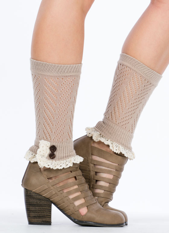 Crochet Double Button Boot Cuffs TAUPE