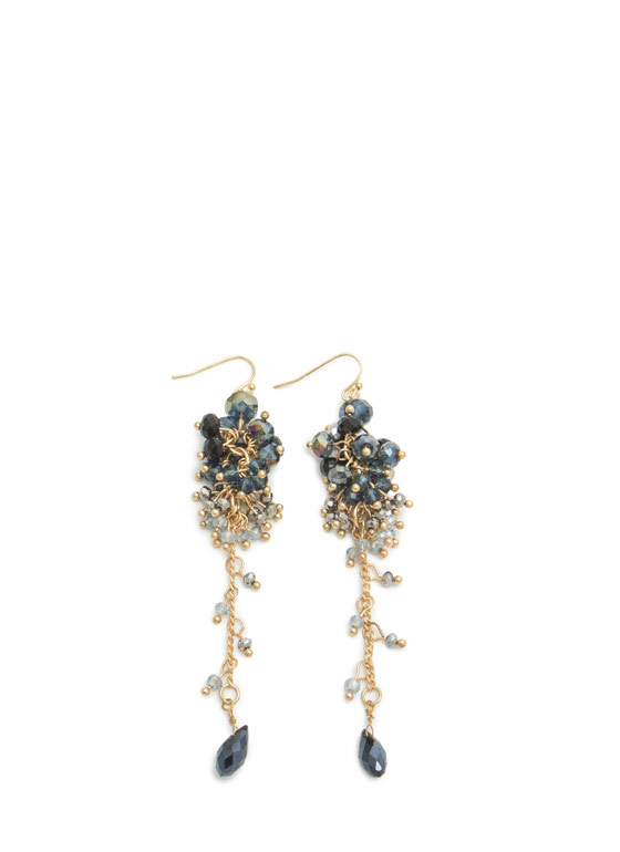 Dangling Beaded Cluster Earrings NAVYGOLD