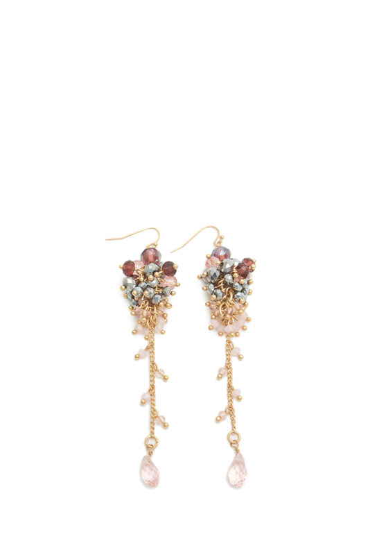 Dangling Beaded Cluster Earrings PINKGOLD