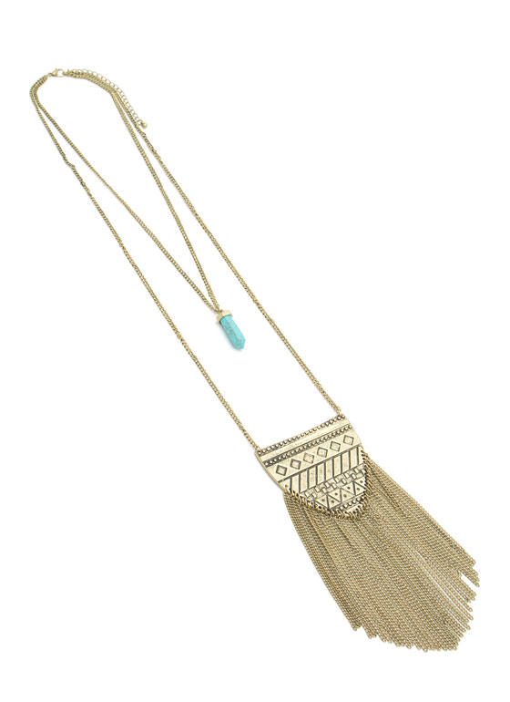 Tribal 'N Stone Double-Sided Necklace DKGOLD