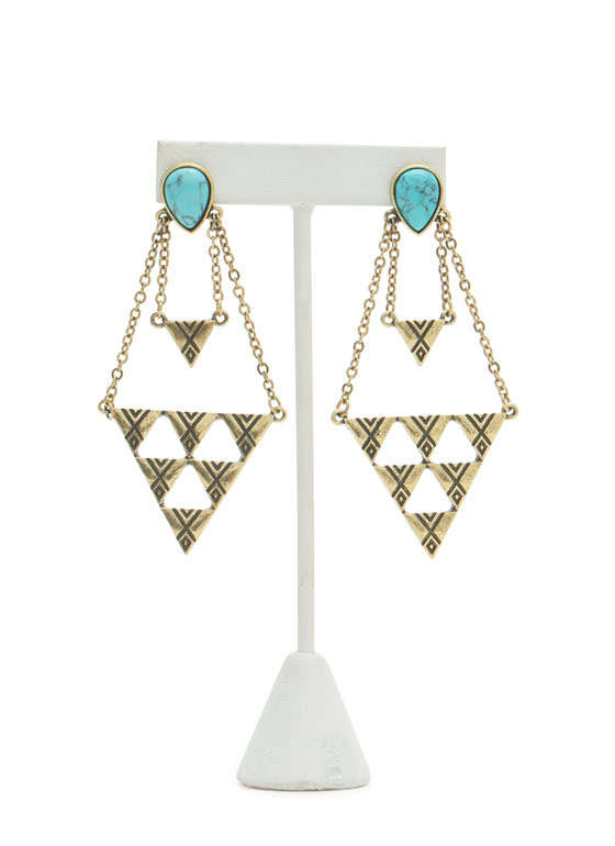 Textured Triangulated Stone Earrings TURQGOLD