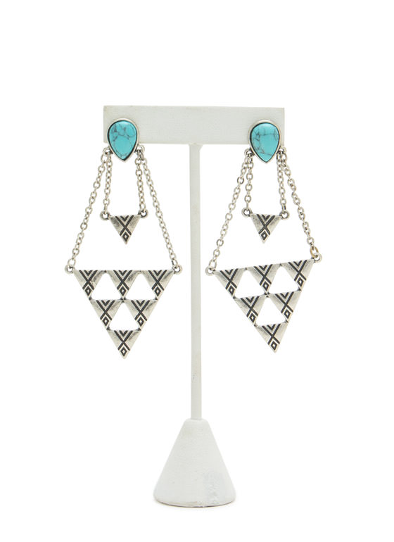 Textured Triangulated Stone Earrings TURQSILVER
