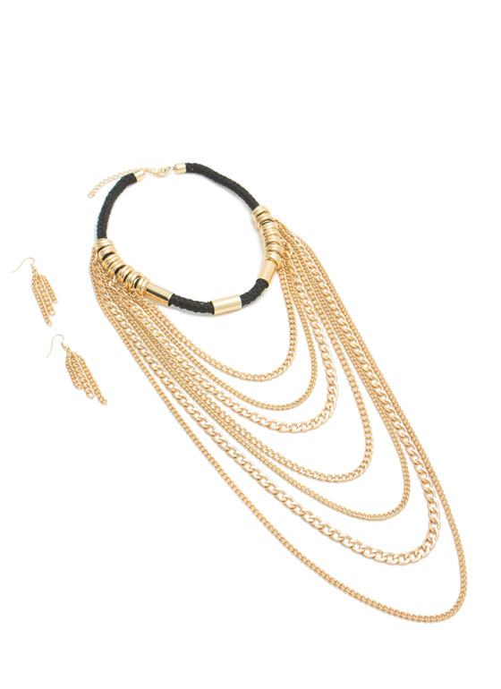Draped Chains Cord Necklace Set GOLDBLACK