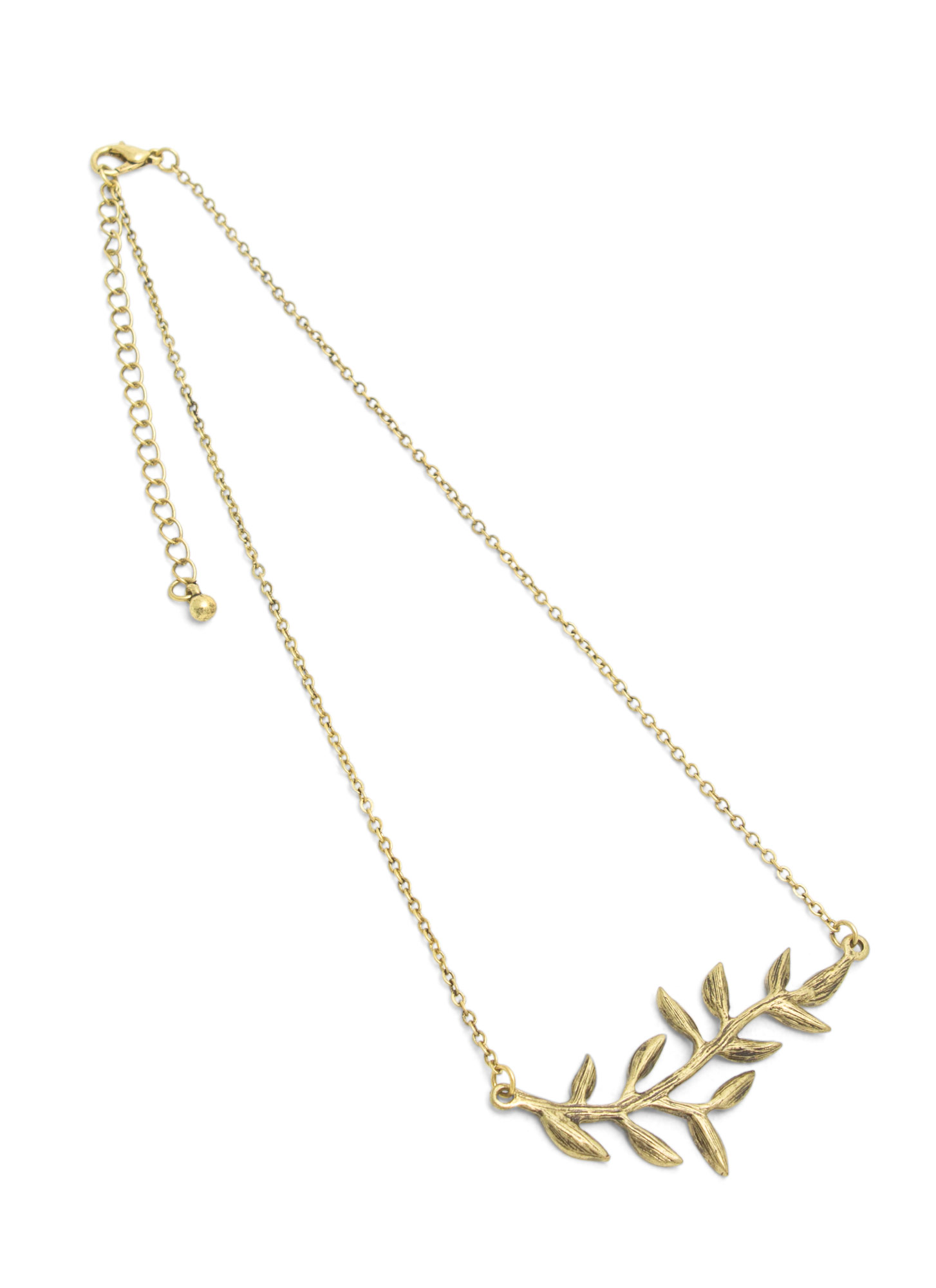 Olive Branch Charm Necklace DKGOLD