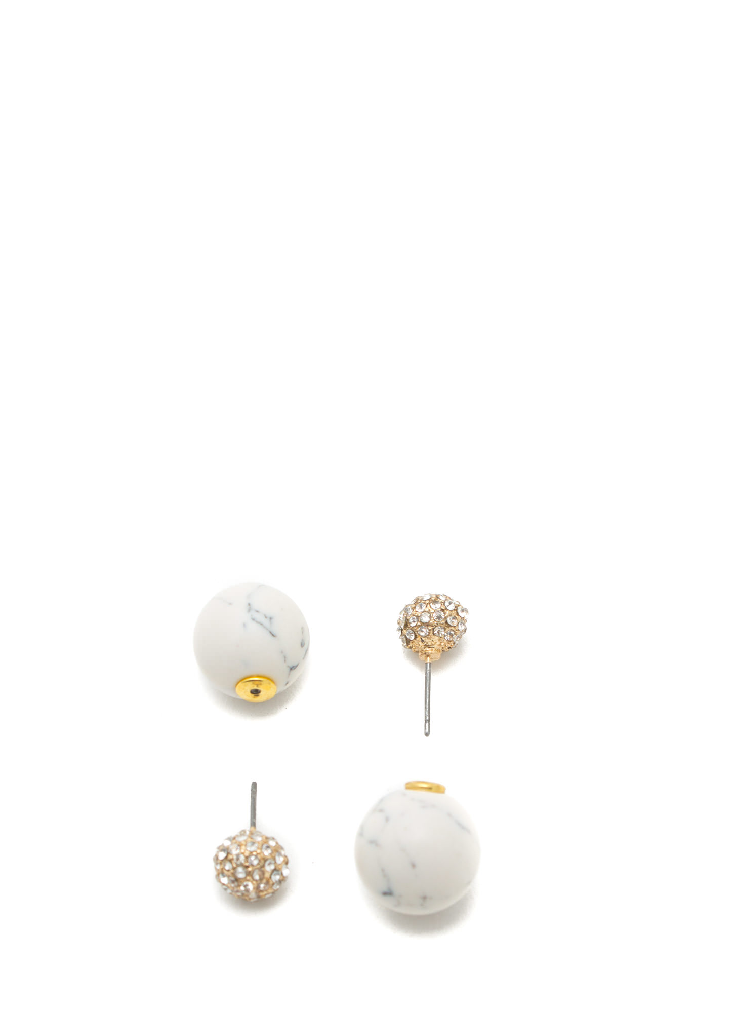 Double-Sided Stone Backdrop Earrings GOLDIVORY