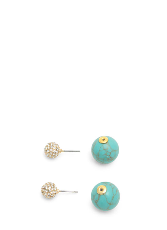 Double-Sided Stone Backdrop Earrings GOLDTURQ