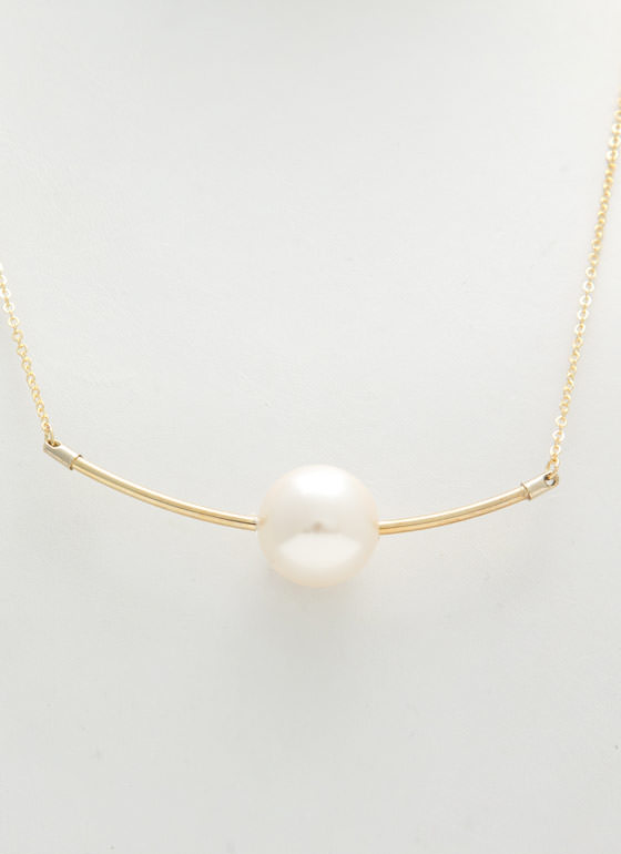 Metallic Faux Pearl 'N Bar Necklace IVORYGOLD