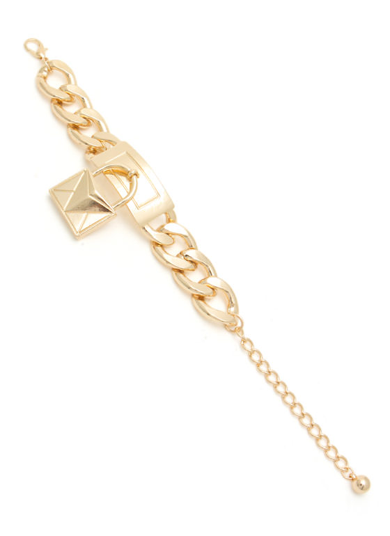 Purse Charm Chunky Chain Bracelet GOLD