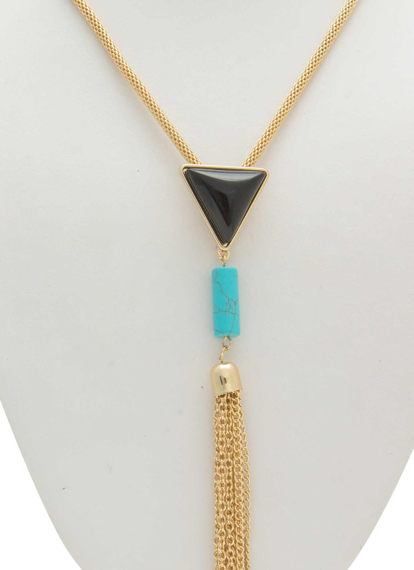 Faux Stone Chain Tassel Necklace GOLDMULTI