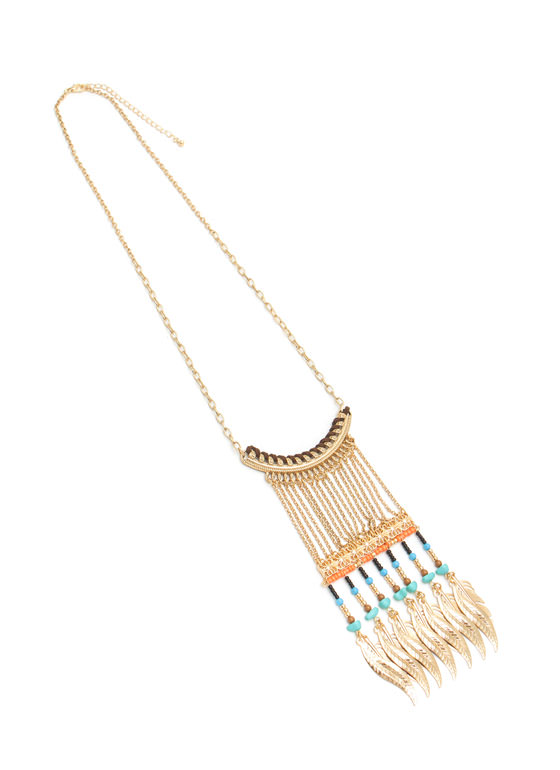 Feather Charm Beaded Fringe Necklace GOLDMULTI