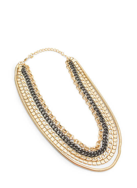 Layered Metal Five-Chain Necklace GOLDMULTI
