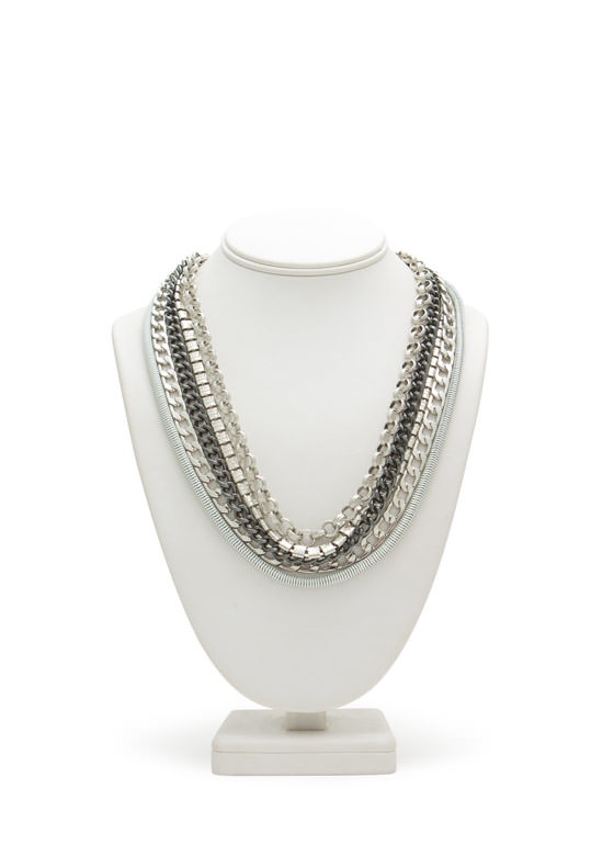 Layered Metal Five-Chain Necklace SILVERMULTI