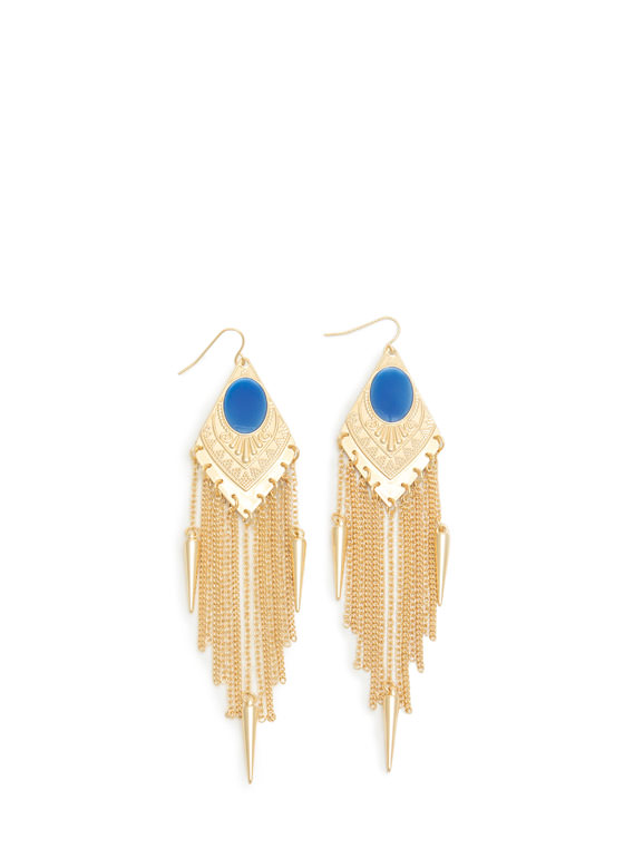 Spiked Fringe Faux Gem Plate Earrings GOLDROYAL