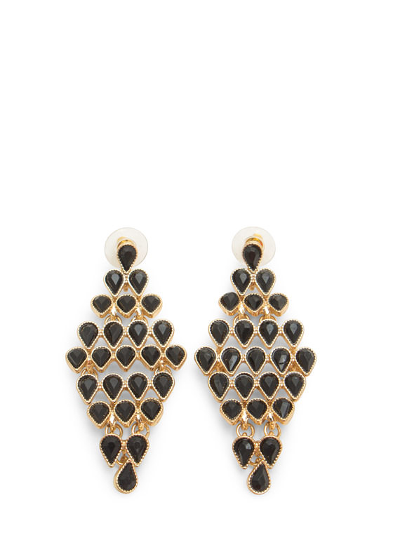 Teardrop Faux Gem Chandelier Earrings BLACKGOLD