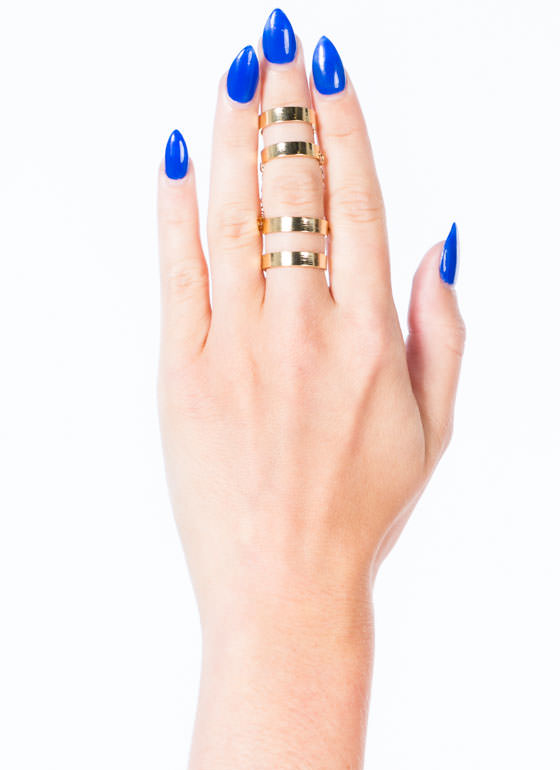 Double Chained Cut-Out Ring Duo GOLD